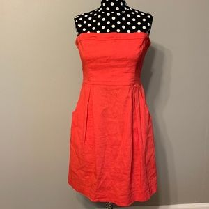 Theory Strapless Red Dress Size 8 W/ Pockets